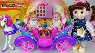 Baby doll and rainbows princess carriage surprise eggs toys play 아기인형 무지개 공주 마차 장난감놀이 - 토이몽