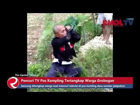 Detik detik Pencuri TV Pos Kampling Tertangkap Warga Grobogan