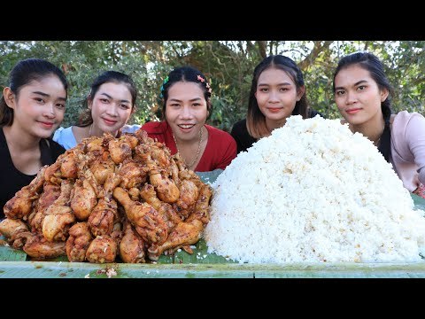 Wow amazing cooking chicken leg crispy with chili sauce and rice recipe