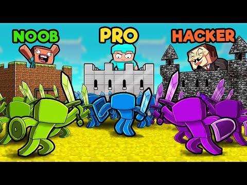 Green vs Blue vs Purple CASTLE WARS! (Noob vs PRO vs Hacker)
