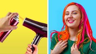 DIY HAIR HACKS FOR LAZY GIRLS    Genius Beauty Life Hacks by 123 GO! GOLD