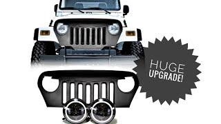 DIY: Install Jeep TJ/LJ Angry Bird Grill And HALO Rimmed LED Headlights (Parts Used In Description)