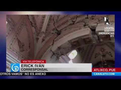 A casi 48 horas del sismo, continúan realizando el recuento de los daños en Atlixco, Puebla