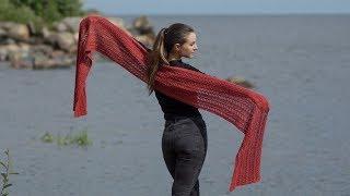 Простой ажурный шарф-палантин спицами / МАСТЕР-КЛАСС - вязание спицами. #SM
