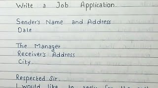 Write a Job application | Letter for job | Job Application