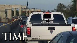 Driver Of The Truck With A Vulgar Message To President Trump Arrested On Warrant In Texas   TIME