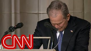 """Former President George W. Bush tears up while eulogizing his father, George H.W. Bush, at a state funeral in Washington. The 43rd president said his father, the 41st president, taught him how to lead. """"He showed me what it means to be a president who serves with integrity, leads with courage and acts with love in his heart for the citizens of our country,"""" Bush said. """"When the history books are written, they will say that George H.W. Bush was a great president of the United States."""" Bush's eulogy ended on an emotional note. Concluding his remarks, he added through tears: """"Your decency, sincerity and kind soul will stay with us forever. So through our tears, let us know the blessings of knowing and loving you, a great and noble man. The best father a son or daughter could have.""""  #cnn #georgebush #bush"""