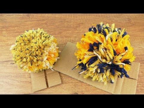Bommel für Mützen selber machen   Einfache Anleitung   Pompom DIY aus Wolle   Bommelmützen