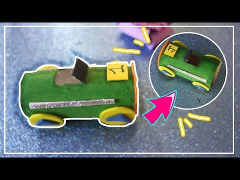 Como hacer un auto reciclando rollo de carton | Adornos con goma eva - Adornos de foami