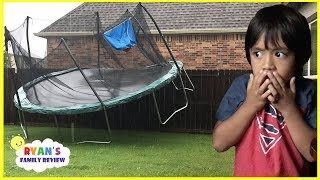 Scary Storm blew away our trampoline and Lights Went Out with Ryan's Family Review