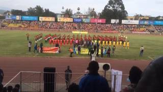 Ethiopia - Ethiopian National Football Team sings the National Anthem before a game