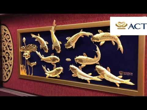 Tranh cá chép hoa sen dát vàng (42x81cm) – Cửu ngư quần hội