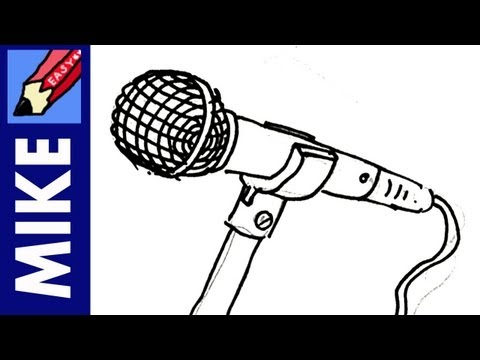 Microphone With Stand Drawing How to draw a micropho...