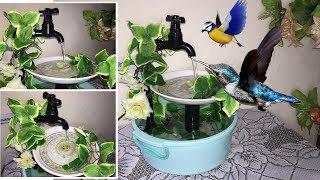 Bird Bath Fountain DIY - How To Make Bird Bath And Water Feeder Fountain For Garden, Cage