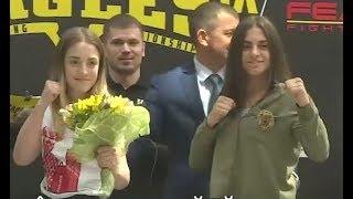 Donna Cheli vs. Elena Andruschenko - Weigh-in Face-Off - (Eagles FC 9) - /r/WMMA