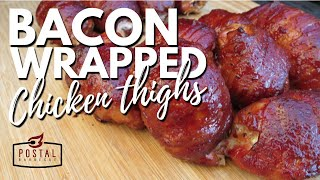 Bacon Wrapped Chicken Thighs - Stuffed Chicken Thighs on the Grill
