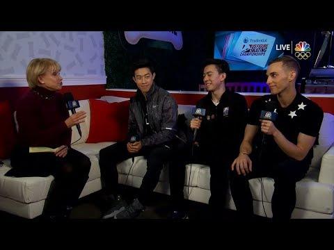 Nathan Chen, Adam Rippon & Vincent Zhou Interview   LIVE 1-7-18