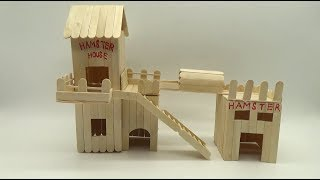 popsicle stick crafts house for hamster - TH-Clip