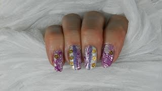 Holo Gold Sequins On Purple Swirls Stamped Nail Design