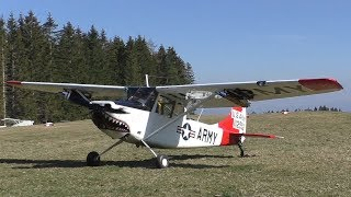 Cessna L-19 Bird Dog Landing And Takeoff At Airfield Rostock | N33455