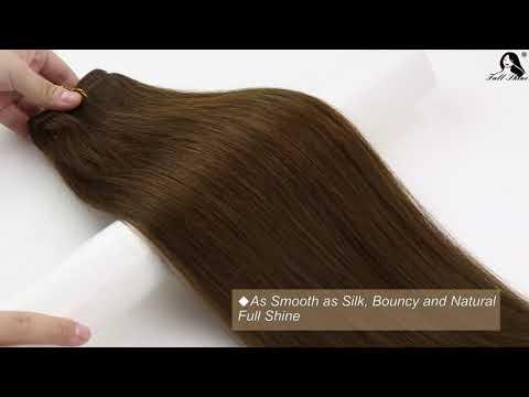 Full Shine Sew In Hair Weft Bundles 100% Remy Human Hair Dark Brown (#4)