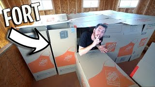 ULTIMATE BOX FORT IN SECRET SHED!