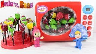 Maşanın Oyuncak Buzdolabı Maşa Sihirli Fırında Lolipop Yapıyor Heidi Parkta Şeker Dağıtıyor