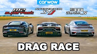 [carwow] Lamborghini Aventador SVJ v Ferrari 812 v Porsche 911 Turbo S: DRAG RACE