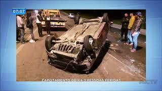 Capotamento deixa três pessoas feridas