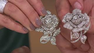 Joan Rivers Simulated Diamond Rose Brooch On QVC