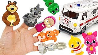 Let's go on a picnic with Masha~ Play Finger Puppets with Masha and the bear   PinkyPopTOY