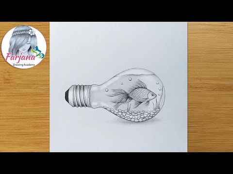 How to draw a Fish inside Bulb - step by step    Pencil Sketch    Bulb Aquarium    Art Video