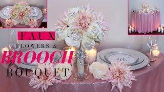 Faux Flowers & Brooch Wedding Bouquet   DIY Brooch Wedding Bouquet Tutorial
