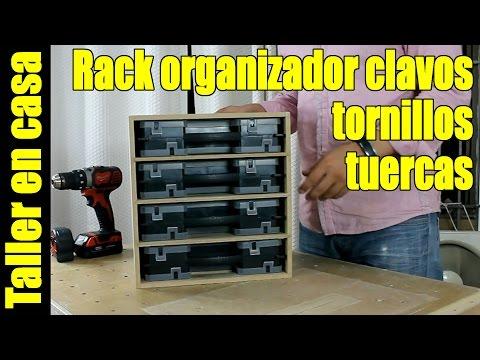 Rack para organizadores de clavos, tornillos, pernos, tuercas… Organiza el taller