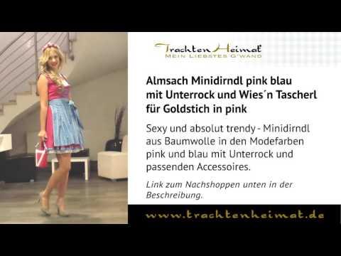 TrachtenHeimat - Almsach Minidirndl pink blau mit Unterrock und Wies´n Tascherl für Goldstich
