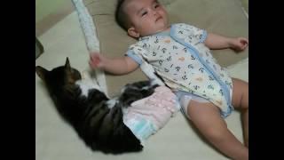 猫とあかちゃん 側で寝たいのだけど叩かれる