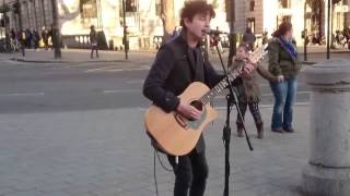 Here Comes the Sun , the beatles,  busking cover  in the streets of London, UK