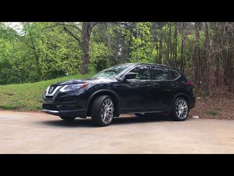 "2018 Nissan Rogue sitting on 20"" chrome Borghini B18 wheels wrapped in 245/40-20 Lexani tires"