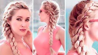 Коса из 4 прядей с цепочкой ★ Причёска на каждый день для средних/длинных волос