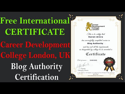 Free International Certificate - Career Development College London ...