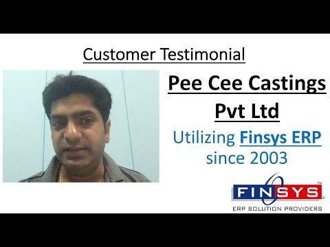 Pee Cee Castings Pvt Ltd - Testimonial for Finsys ERP Non Ferrous Castings