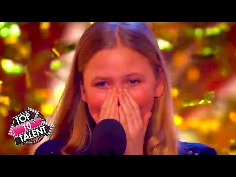 TOP TEN GOLDEN BUZZER KID SINGERS! Auditions From America's Got Talent and Britains Got Talent (видео)