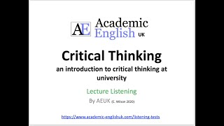 Critical Thinking Lecture (2020): an introduction to critical thinking