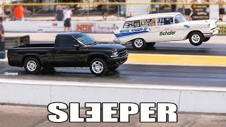 DECEITFUL DAKOTA! 10 SEC STREET SLEEPER! WAKES UP '57 DRAG WAGON! STOCK SUSPENSION! BYRON DRAGWAY!