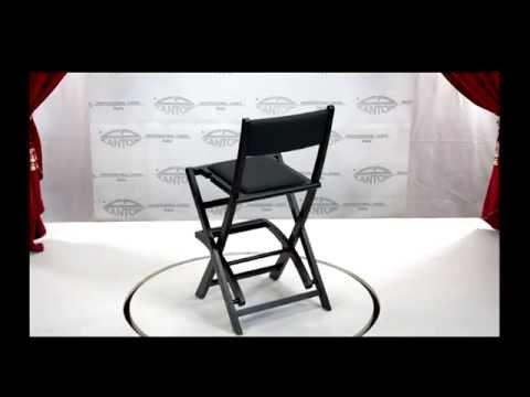 video Chaise Makeup pliable en bois sans appui coude