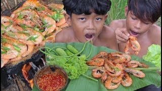 Primitive Technology - Awesome Cooking Shrimp Recipe - Eating delicious