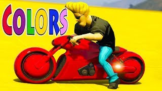 Colors for children | funny superheroes learn colors on color motorcycles