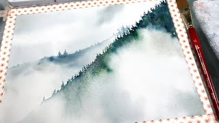 Beginner Level Painting Misty Fog Trees and Mountains
