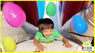 HUGE EGGS SURPRISE TOYS CHALLENGE for kids inflatable slides Disney Cars Superhero toys