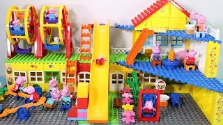 Peppa Pig Family Lego House Creations With Water Slide Toys